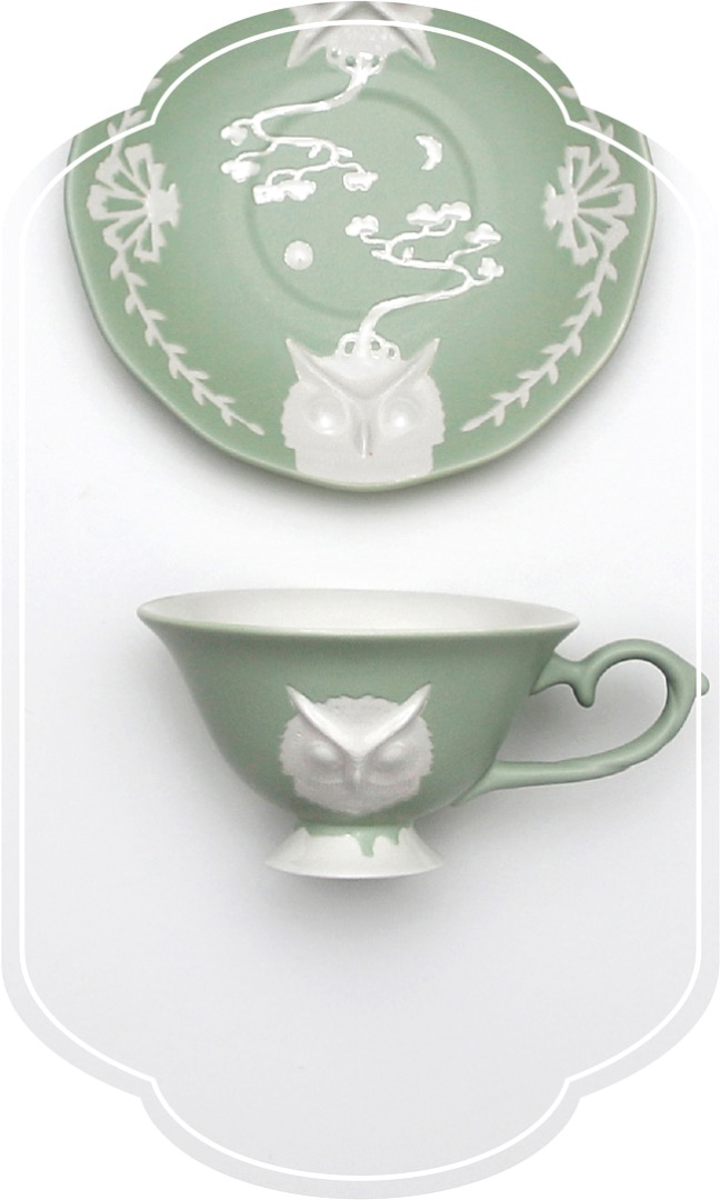 Cafe room No.1508 Owl Tea set_GreenPastel