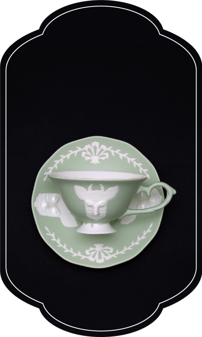 Cafe room No.1508 deer Tea set_GreenPastel
