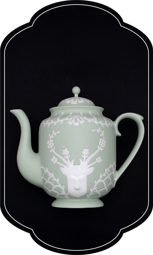 Cafe room No.1508 deer Teapot_GreenPastel